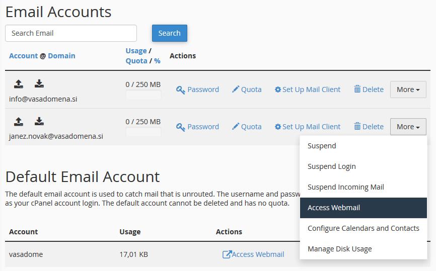 cPanel - Dostop do e-poštnega predala
